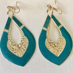 Jewelry - Blue Enamel GOLD EARRINGS hoops Moroccan Dangle